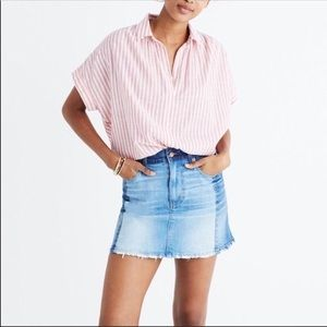 Madewell McCarren Pieced Two Tone Denim Mini Skirt